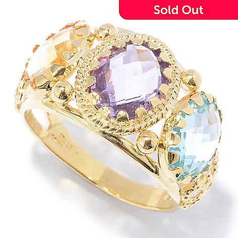 131-043 - Viale18K® Italian Gold 4.39ctw Citrine, Blue Topaz & Amethyst Ring