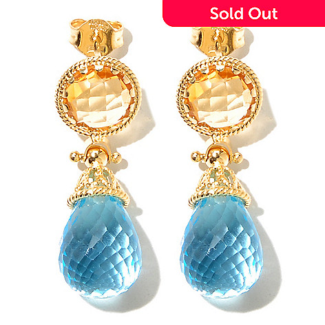 131-045 - Viale18K® Italian Gold 1.25'' Dual Gemstone Drop Earrings