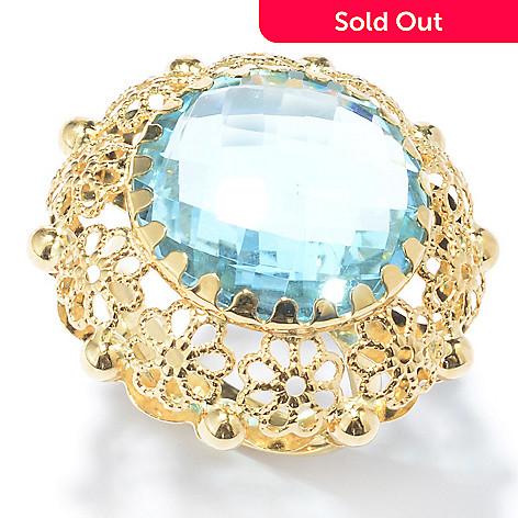 131-046 - Viale18K® Italian Gold 15.13ctw Blue Topaz Floral Filigree Ring