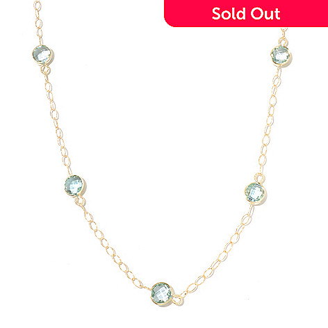 131-047 - Viale18K® Italian Gold 18'' Blue Topaz Diamond Cut Station Necklace