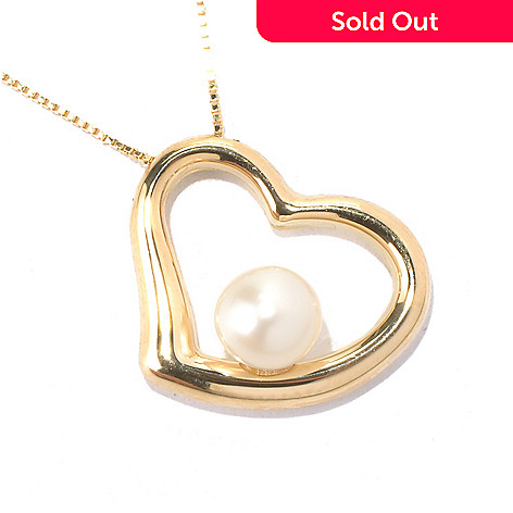 131-049 - Viale18K® Italian Gold 18'' Freshwater Cultured Pearl Heart Necklace