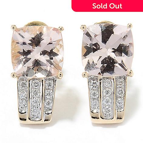 131-051 - Gem Treasures® 18K Gold 2.31ctw Peach Morganite & Diamond Earrings