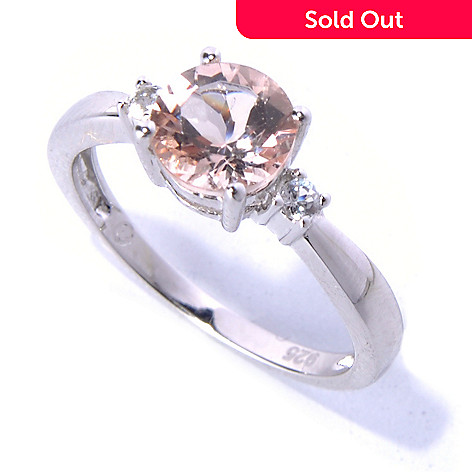 131-052 - Gem Insider® Sterling Silver 1.06ctw Morganite & White Topaz Three-Stone Ring