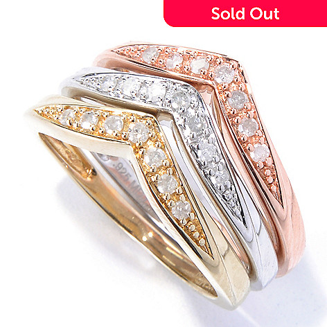 131-054 - Diamond Treasures® Set of Three 0.25ctw Diamond Chevron Shaped Stack Rings