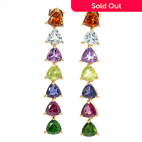 131-060 - NYC II 5.98ctw Multi Gemstone Trillion Dangle Earrings