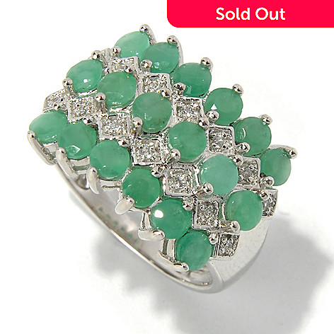 131-061 - NYC II 1.76ctw Sakota Emerald & White Zircon Five-Row Ring