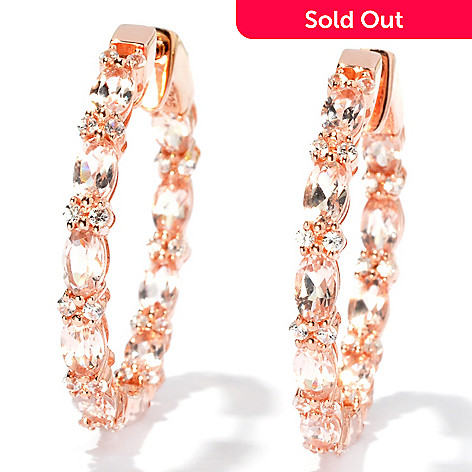 131-062 - NYC II™ 1.25'' 5.34ctw Morganite & White Zircon Inside-Out Hoop Earrings