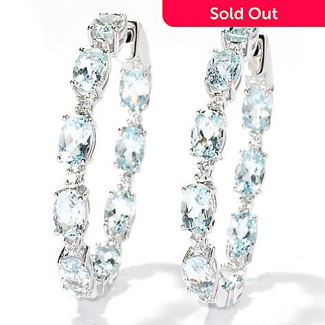 131-064 - NYC II™ 1.5'' 8.34ctw Aquamarine & White Zircon Inside-Out Hoop Earrings