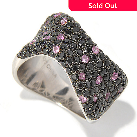 131-065 - NYC II Black Spinel & Pink Sapphire Polka Dot Wave Band Ring