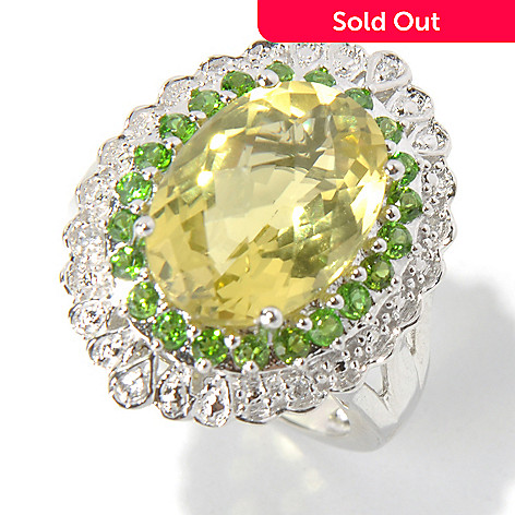 131-067 - NYC II™ 5.86ctw Ouro Verde, Chrome Diopside & White Zircon Halo Ring