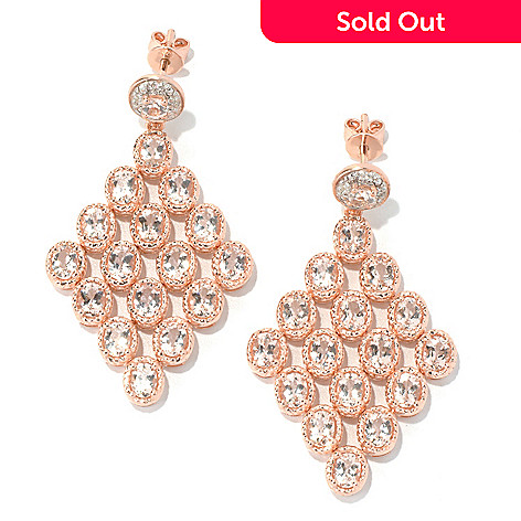 131-068 - NYC II 1.75'' 5.29ctw Morganite & White Zircon Chandelier Earrings