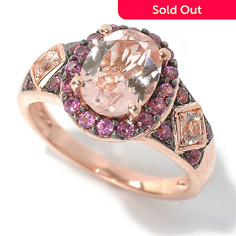 131-070 - NYC II® 2.35ctw Morganite & Rhodolite Halo Ring