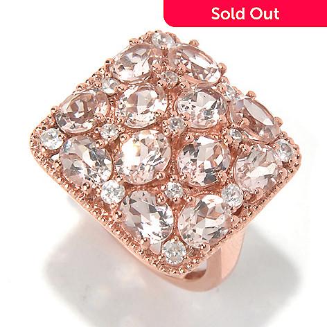 131-079 - NYC II™ 3.60ctw Morganite & White Zircon Square Top Ring