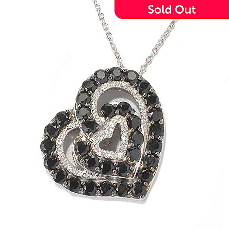 131-083 - NYC II™ Black Spinel & White Zircon Heart Pendant w/ 20'' Chain