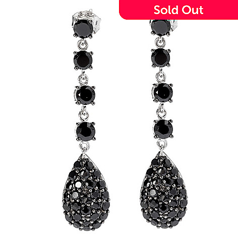 131-084 - NYC II 1.75'' Black Spinel Elongated Drop Earrings