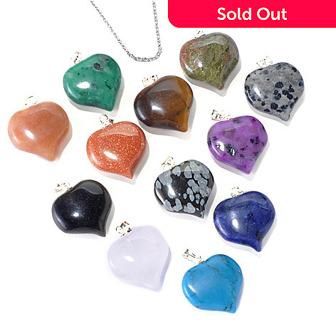 131-087 - Gem Insider® Set of 12 Sterling Silver 12.75ctw Gemstone Heart Pendants