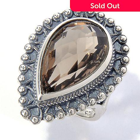 131-088 - Gem Insider™ Sterling Silver 9.16ctw Pear Cut Smoky Quartz Beaded Ring