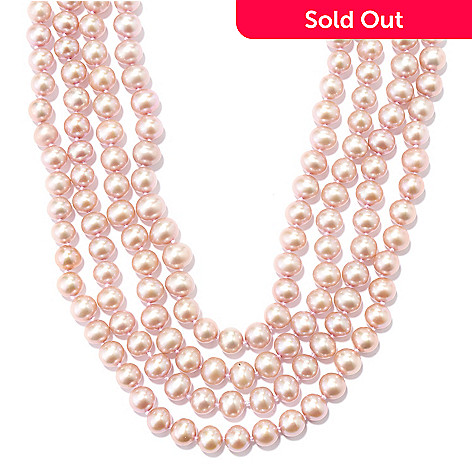 131-092 - 100'' 7-8mm Dyed Pink Freshwater Cultured Pearl Endless Necklace