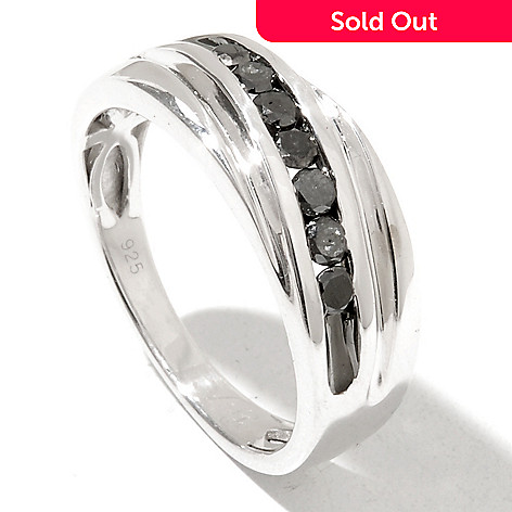 131-096 - Gem Treasures Men's Sterling Silver 0.50ctw Black Diamond Band Ring