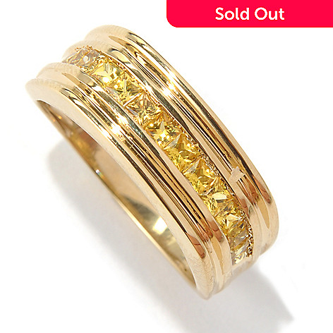 131-097 - Gem Treasures® Men's 14K Gold Yellow Sapphire East-West Channel Square Top Ring