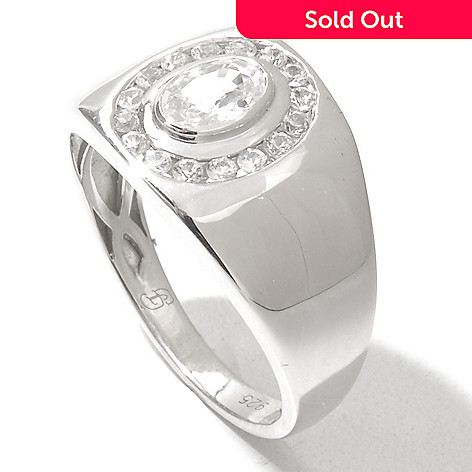 131-098 - Gem Treasures® Men's Sterling Silver White Sapphire Halo Ring