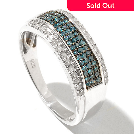 131-099 - Gem Treasures Men's Sterling Silver 0.50ctw Blue & White Diamond Ring