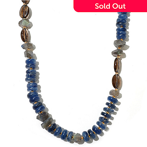 131-106 - Gems of Distinction 42'' Kyanite, Labradorite & Smoky Quartz Beaded Necklace