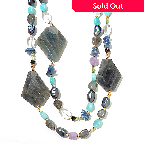 131-111 - Gems of Distinction 20'' Labradorite & Multi Gemstone Two-Strand Beaded Toggle Necklace