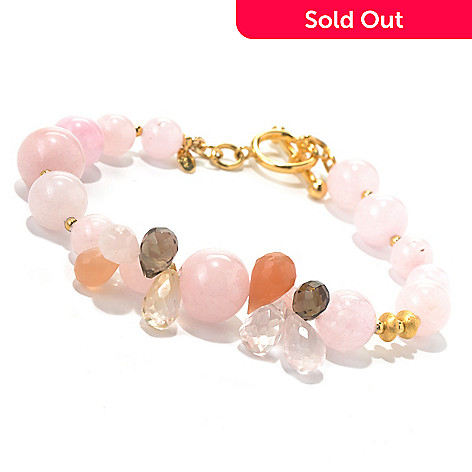 131-112 - Gems of Distinction Morganite Bead & Briolette Cut Multi Gemstone Toggle Bracelet