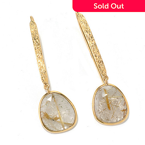 131-116 - Gems of Distinction 19.12ctw Rutilated Quartz Etched Elongated Drop Earrings