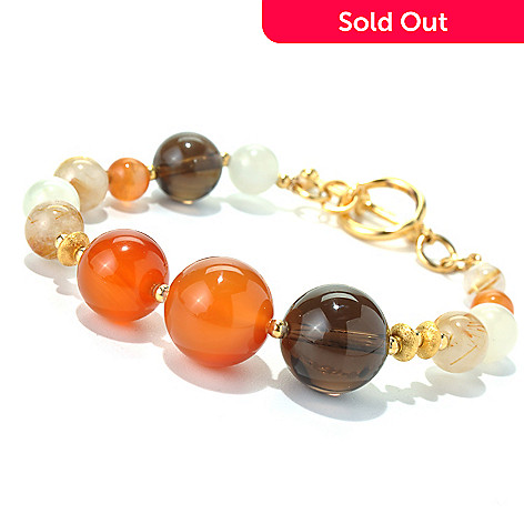 131-117 - Gems of Distinction Carnelian, Multi Quartz & Moonstone Beaded Toggle Bracelet