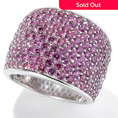 131-119 - Gem Treasures® Sterling Siver 3.60ctw Pink Rhodolite Pave Wide Band Ring