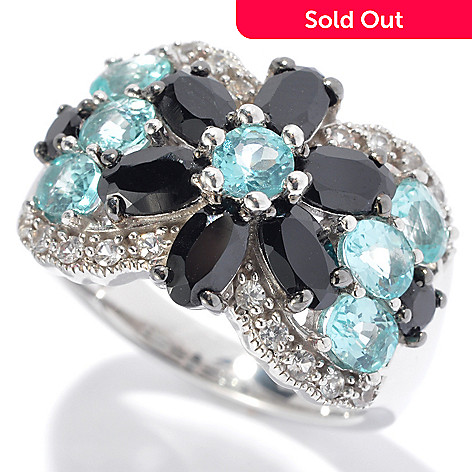 131-128 - Gem Insider™ Sterling Silver 3.00ctw Spinel, Apatite & Sapphire Flower Ring