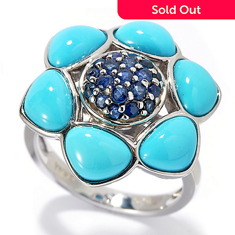 131-129 - Gem Insider Sterling Silver 4.71ctw Sapphire & Sleeping Beauty Turquoise Ring