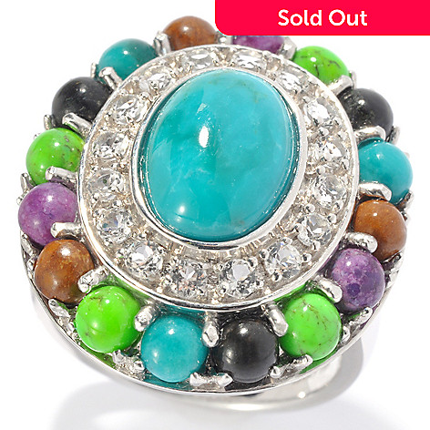 131-130 - Gem Insider™ Sterling Silver 11 x 8mm Turquoise & White Topaz Double Halo Ring