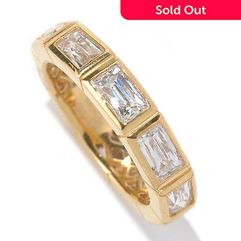 131-135 - TYCOON 2.62 DEW Rectangle Bezel Set Simulated Diamond Eternity Band Ring