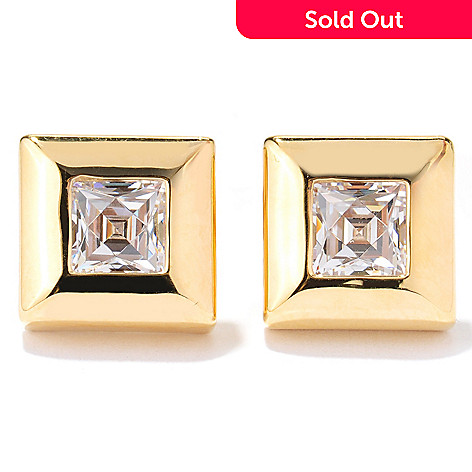 131-137 - TYCOON 1.16 DEW Square Cut Bezel Set Simulated Diamond Stud Earrings