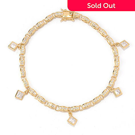 131-140 - TYCOON Princess Cut Simulated Diamond Drop Charm Bracelet