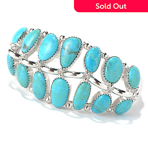 131-151 - Gem Insider™ Sterling Silver 7.5'' Turquoise Graduated Two-Row Cuff Bracelet