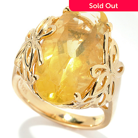131-152 - NYC II™ 8.80ctw Yellow Fluorite Elongated Ring