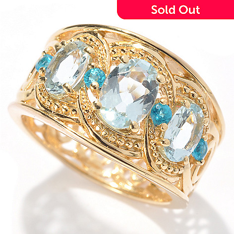 131-153 - NYC II 1.33ctw Oval Cut Aquamarine & Apatite Ring