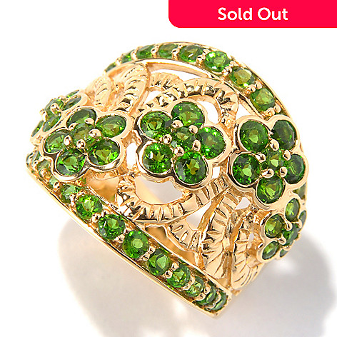 131-154 - NYC II 2.09ctw Chrome Diopside Five-Flower Wide Band Ring