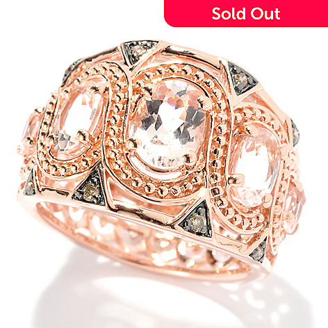 131-155 - NYC II™ 1.54ctw Morganite & Champagne Diamond Wide Band Ring