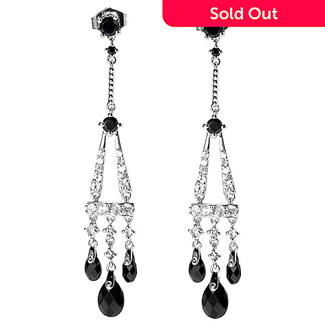 131-158 - NYC II Black Spinel & White Zircon Chandelier Earrings