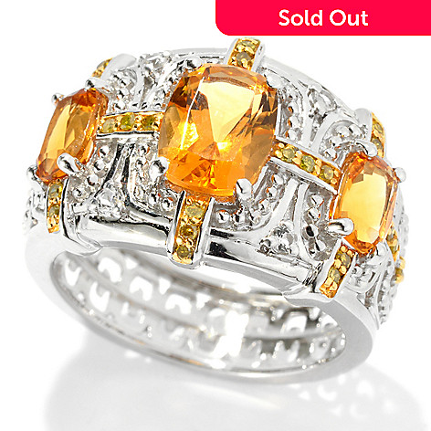 131-160 - NYC II™ 2.02ctw Honey Citrine, Yellow Diamond & White Topaz Ring