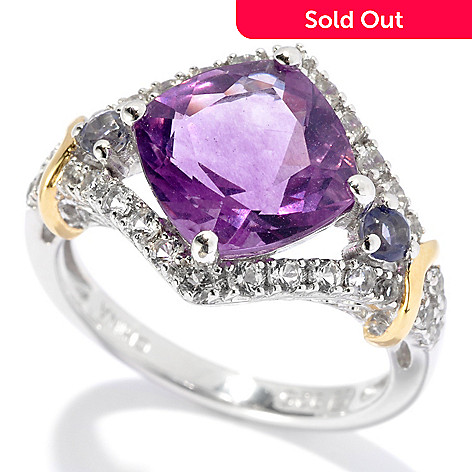 131-162 - NYC II™ 3.32ctw Purple Fluorite, Iolite & White Topaz Ring