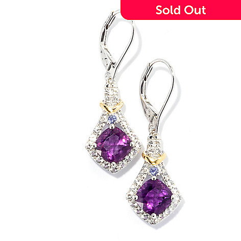 131-163 - NYC II™ 1.5'' 2.72ctw Purple Fluorite, Iolite & White Topaz Drop Earrings
