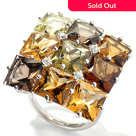 131-167 - NYC II™ 11.94ctw Multi Gemstone ''Radiant Neutrals'' Square Top Ring