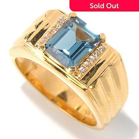 131-172 - NYC II® Men's 2.45ctw Emerald Cut London Blue & White Topaz Ring