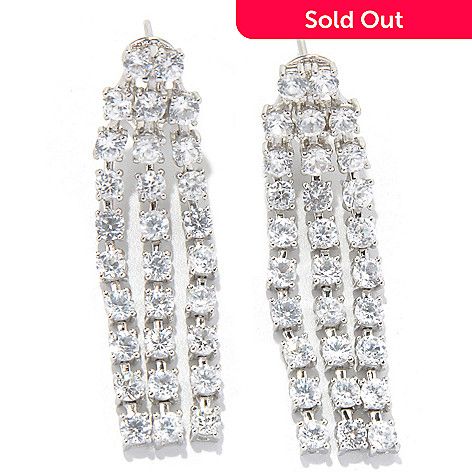 131-174 - Gem Treasures® Sterling Silver 1.5'' Zircon Three- Row Drop Earrings w/ Omega Backs